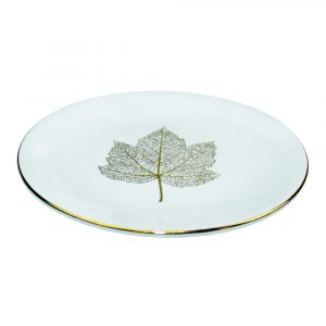 Bordje leaf wit met goud