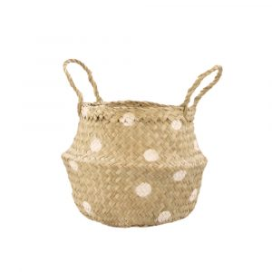 Seagrass mand mini dots wit