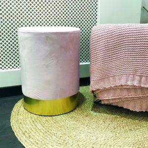 Velvet poefje roze