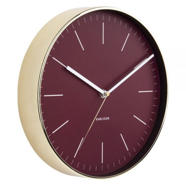 Wand klok minimal burgundy red