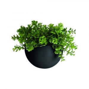 Wandpot globe zwart