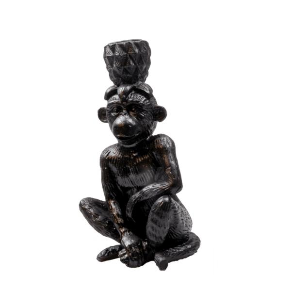 Zwarte kandelaar aap met ananas