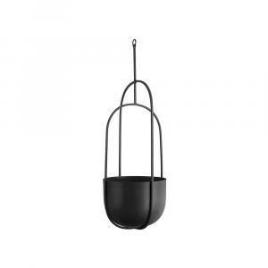 Hangende bloempot spatiel ovaal zwart_01