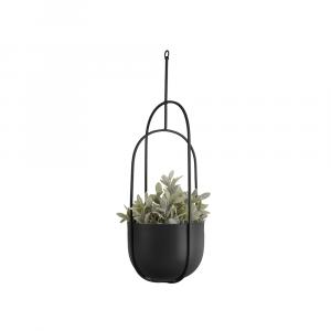 Hangende bloempot spatiel ovaal zwart_02