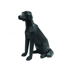 Beeldje van zittende hond zwart