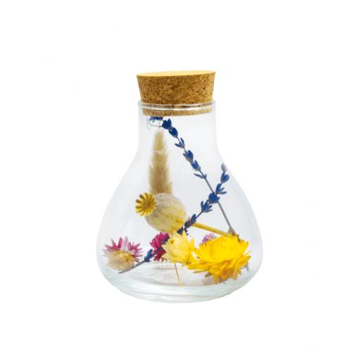 Flesje Amber met droogbloemen