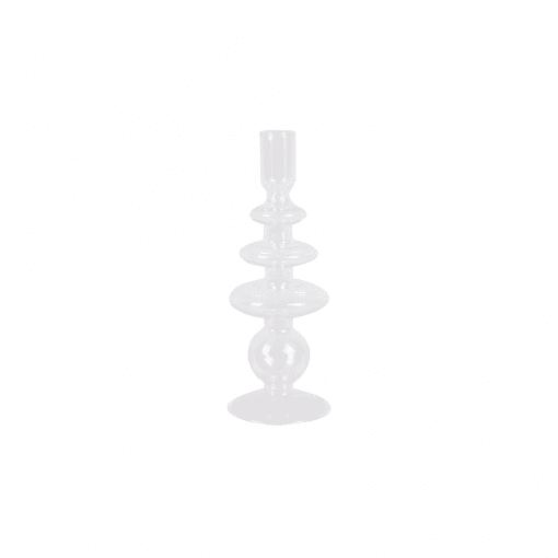 Glazen kandelaar art rings transparant large