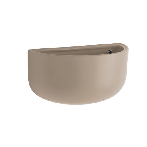 Zijkant wandpot oval wide warm grey